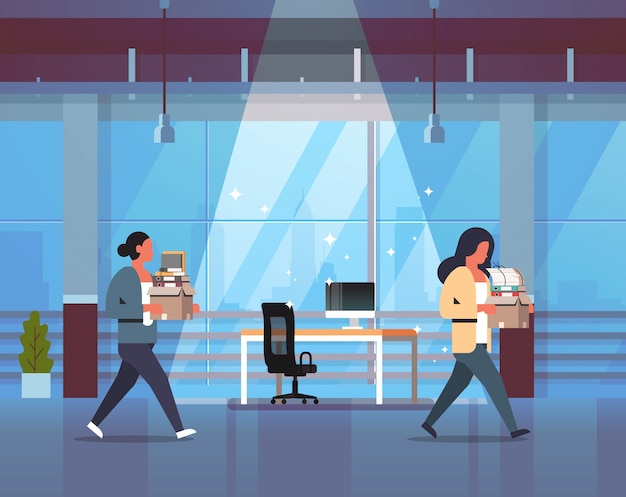 Business woman carrying box with things new workplace dismissed frustrated businesswoman go away dismissal and new job concept office interior