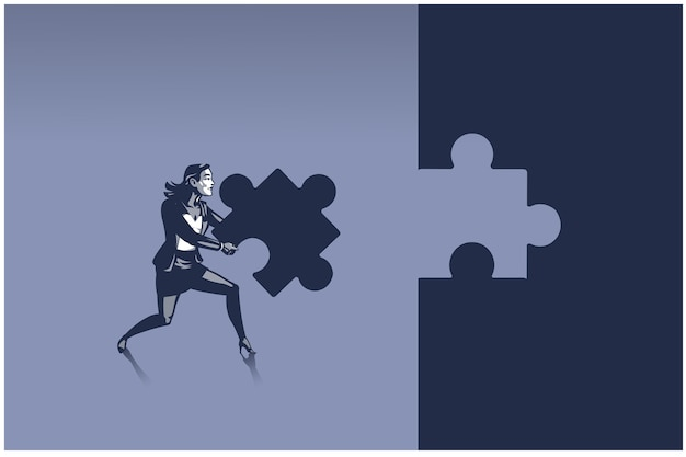 Деловая женщина, несущая кусок пазла, пытаясь разместить его там, где он принадлежит. концептуальная иллюстрация человека, решающего проблемы в человеческих ресурсах бизнеса