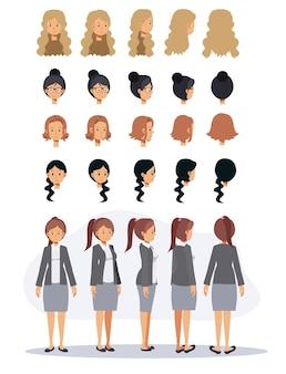 비즈니스 여자 만화 캐릭터와 다른 헤어스타일입니다. 평면 벡터 2d 만화 캐릭터 그림입니다.