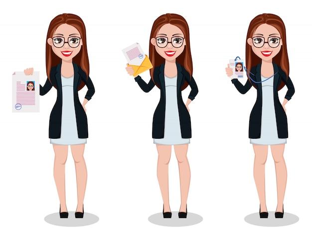 Бизнес женщина мультипликационный персонаж. прекрасная дама