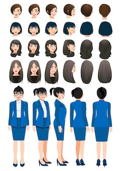Business woman cartoon character in bright navy blue color suit and different hairstyle for animation design vector collection