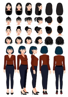 Business woman cartoon character in casual wear and different hairstyle for animation design vector collection