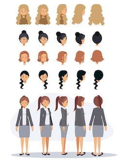 Business woman cartoon character and different hairstyle.flat vector 2d cartoon character illustration.