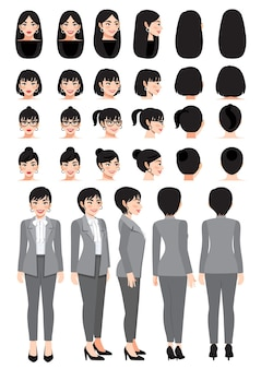 Business woman cartoon character in grey smart suit and different hairstyle for animation design vector collection
