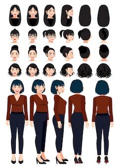 Деловая женщина мультипликационный персонаж в повседневной одежде и различных прическах для коллекции векторных дизайнов анимации
