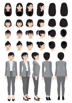 Деловая женщина мультипликационный персонаж в сером умном костюме и разная прическа для векторной коллекции дизайна анимации