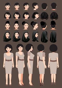 Деловая женщина мультипликационный персонаж в платье цвета хаки и разная прическа для векторной коллекции дизайна анимации