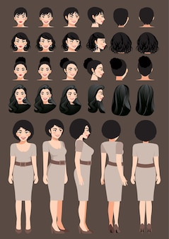 Business woman cartoon character in khaki color dress and different hairstyle for animation design vector collection
