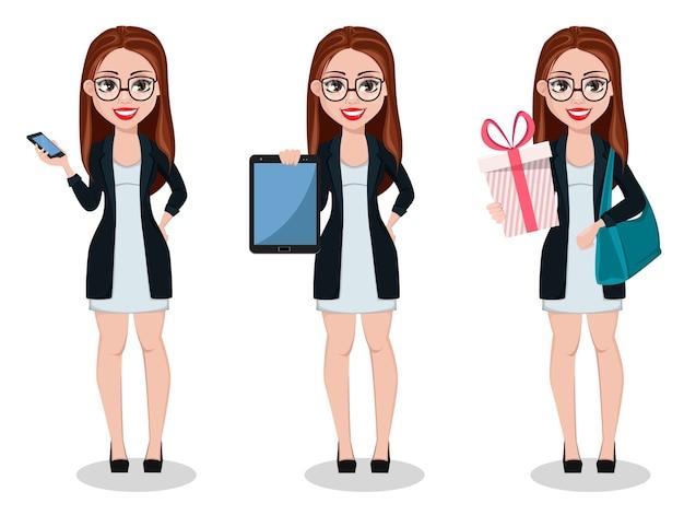 Деловая женщина мультипликационный персонаж, набор из трех поз