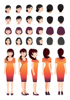 Business woman cartoon character in sunset gradient color dress and different hairstyle for animation design vector collection