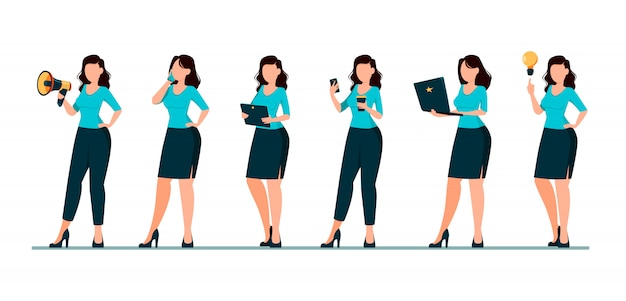 Business woman cartoon character
