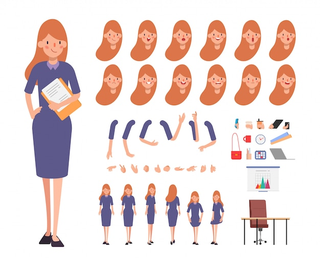 Business woman character for animation face emotion mouth.