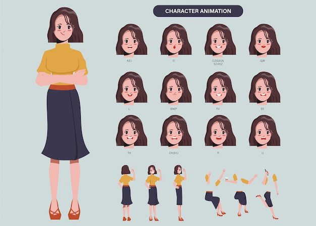 Business woman character animation mouth and front, side, back, 3-4 view pose.