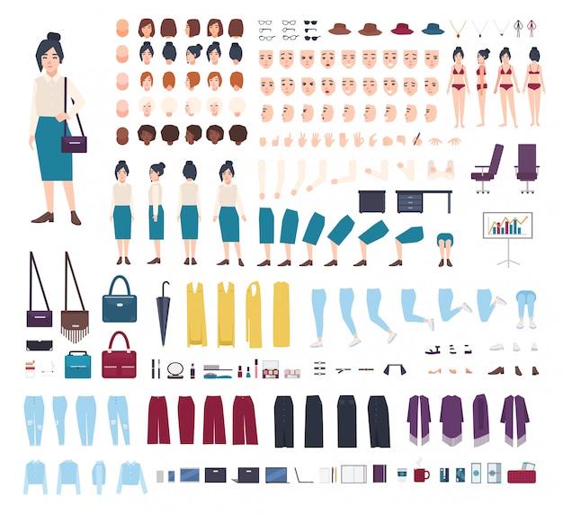 Деловая женщина конструктор персонажей. набор создания девушки клерка. разные позы, прическа, лицо, ноги, руки, коллекция одежды. мультфильм иллюстрация. вид спереди, сбоку, сзади.