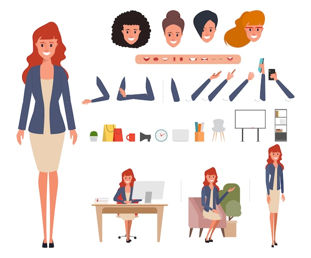 Business woman character creation for animation.