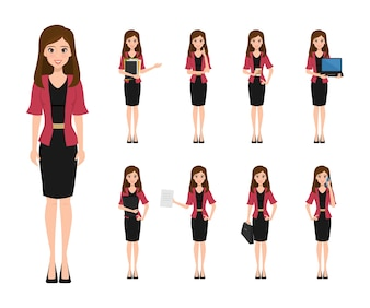 Business woman character creation in office style.