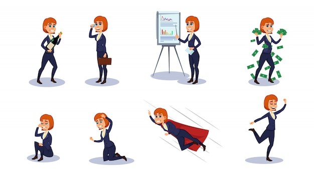 Business woman character in different positions.