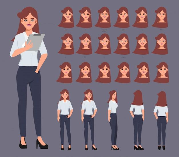감정 얼굴 애니메이션 입으로 애니메이션에 대한 비즈니스 여성 캐릭터. 평면 벡터 디자인.