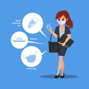 새로운 정상적인 라이프 스타일 개념의 비즈니스 여자 캐릭터.