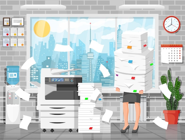 Business woman character in office in bunch of papers. tired businesswoman or office worker on workplace. stress at work. bureaucracy, paperwork, deadline. vector illustration in flat style