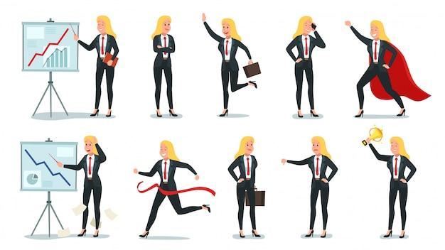 비즈니스 여자 캐릭터. 사무실 전문 작업자, 젊은 여성 비서 및 기업 사업가 일러스트 세트