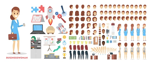 さまざまなビューを持つアニメーションのビジネス女性キャラクターセット