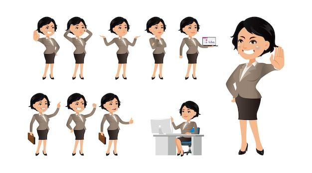 さまざまなポーズや感情で設定されたビジネスウーマンのキャラクター。