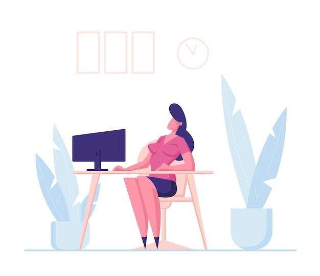 ビジネスウーマンのキャラクターは、オフィスの職場に座って、コンピューターを見て