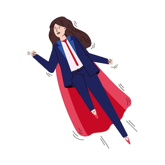 Business woman character in superhero red cape illustration