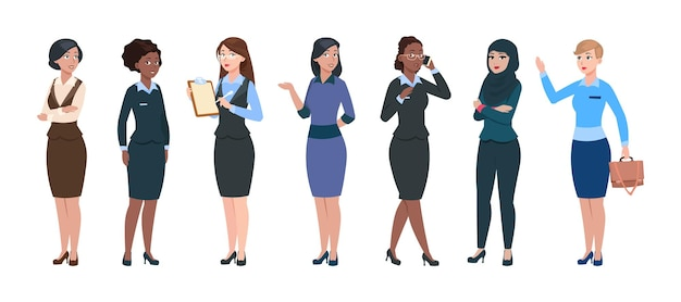 Business woman characters. isolated professional young businesswomen. smart elegant femmes, office corporate dress code. arab and afro american ladies, secretary or assistants vector illustration