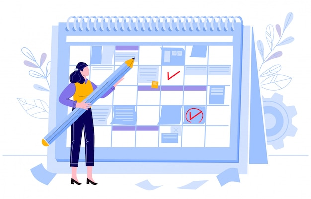 ビジネス女性チェックカレンダー。計画日、作業月プロジェクトプランナー、イベントカレンダーの確認。鉛筆イラストの女性キャラクター。タスクのスケジューリング、組織管理