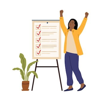 Business woman checklist. success girl, office working board with tasks. young entrepreneur goal or plan ready, survey list vector concept. business checklist, woman check list done illustration