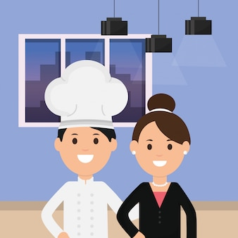 Business woman and chef room ceiling lamps and window illustration