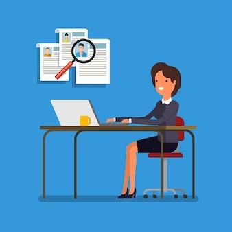 採用する人を選ぶビジネスウーマン。仕事とスタッフ、人と採用、人の選択、リソースと採用。フラットイラスト