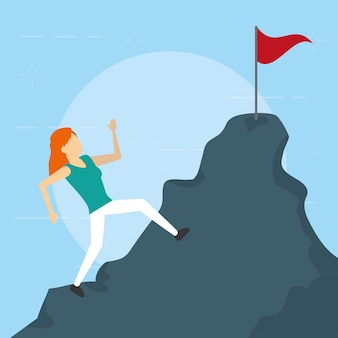 Business woman climbing mountain flag, flat style