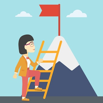 Business woman climbing on mountain.