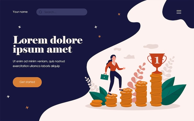 Business woman climbing on top of money chart to financial goal. bar growth diagram, stairs of coins. vector illustration for finance, investment, career, wealth concept