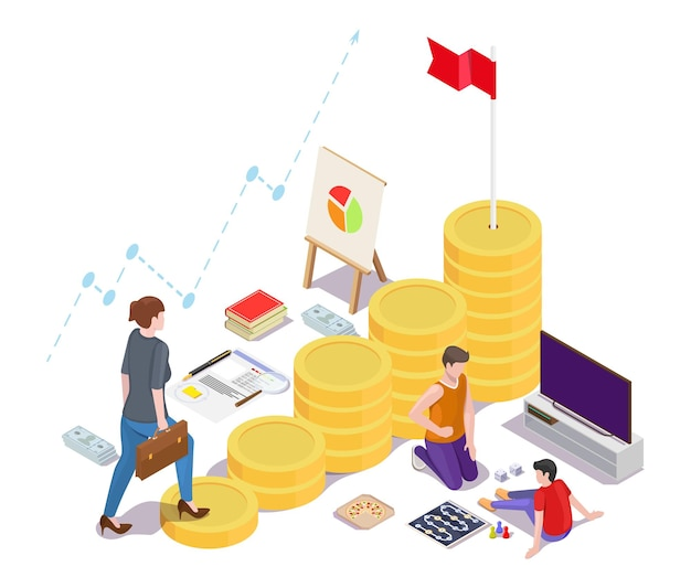 Business woman climbing up career ladder with flag on the top vector isometric illustration financia...