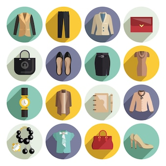 Business woman clothes icons set