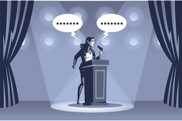 ビジネスウーマンがスポットライトの下でステージ上でスピーチを配信