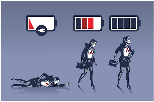 Business woman in different energy level pictured as battery life business illustration concept