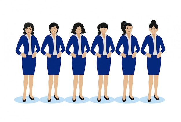 Business woman, different hair style