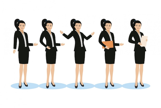 Business woman different poses