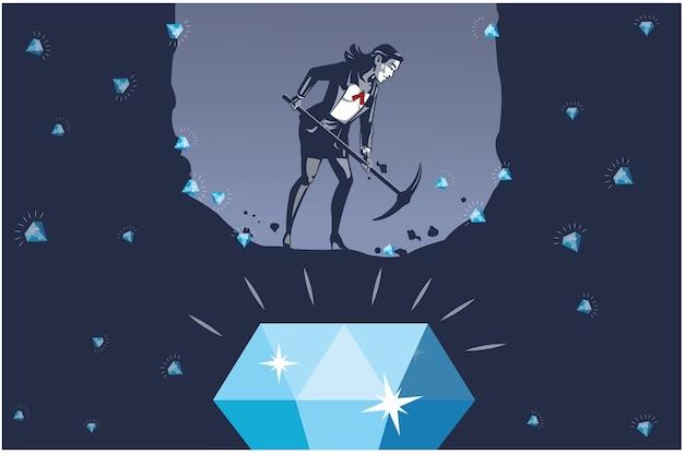 最大のダイヤモンドイラストコンセプトを見つけようとしているビジネスウーマン掘り穴