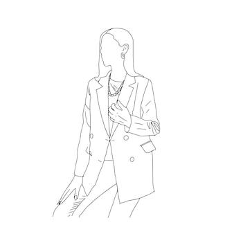 雑誌の表紙のデザインのために直線的なスタイルで描かれたビジネスウーマン。ベクトルイラスト。