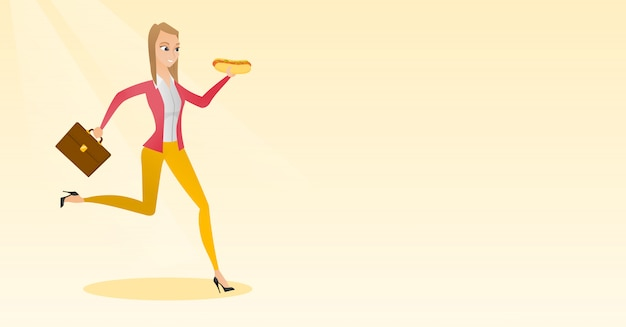 Business woman eating hot dog