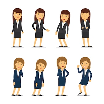 Business woman emotions and businesswoman different poses