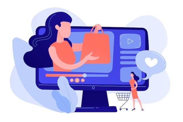 ビジネスウーマンは、買い物客と一緒にビデオを楽しんでいます。ショッピングスプリービデオ、運搬ビデオコンテンツ、美容ファッションライフスタイルチャンネルのコンセプト