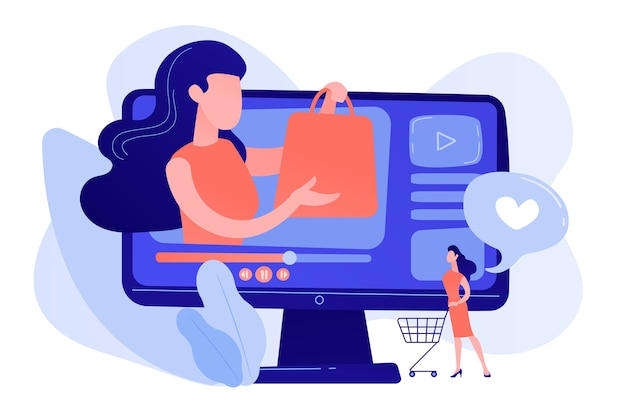 Business woman enjoys video with buyer on shopping sprees. shopping sprees video, haul video content, beauty fashion lifestyle channel concept