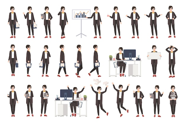 Business woman or female office worker dressed in smart clothing in different postures, moods, situations and expressing various emotions. flat cartoon character. colorful vector illustration.